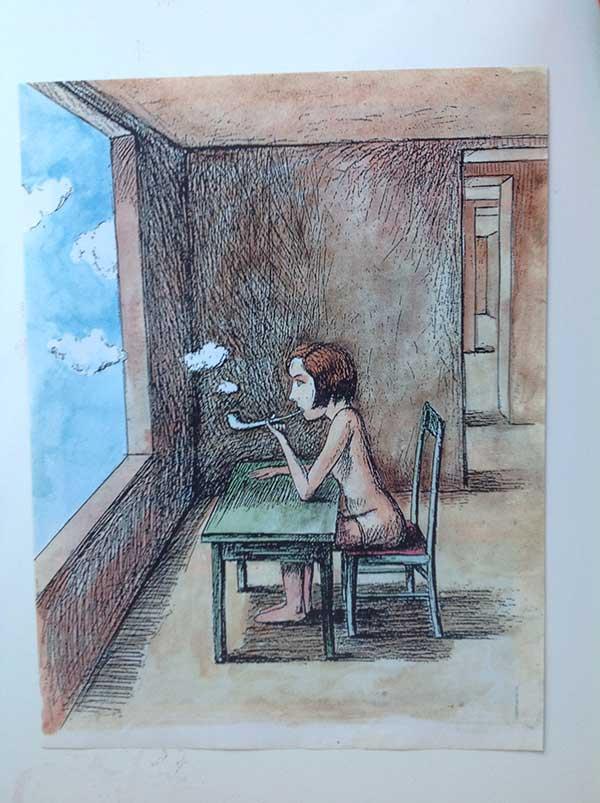 Картина Андрея Шелютто Девочка с трубкой